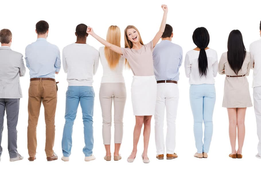 "I set out to find a cheesy stock photo of someone ""standing out in a crowd."" Took about 2.3 seconds."